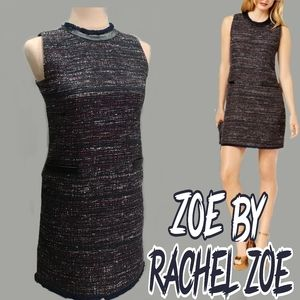 Faux leather & tweed shift dress